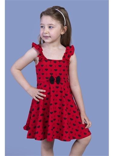 Toontoy Kids Toontoy Kız Çocuk Fırfır Detaylı Komple Baskılı Elbise Kırmızı